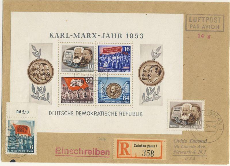 DDR Block 9 A auf Brief Luftpost nach USA
