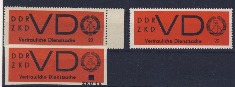 Lot DDR Dienst Gruppe D Michel No. 3 x , y ** postfrisch Eindruck 4a