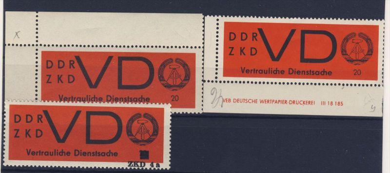 Lot DDR Dienst Gruppe D Michel No. 3 x , y ** postfrisch DV Druckvermerk / Eindruck 4a