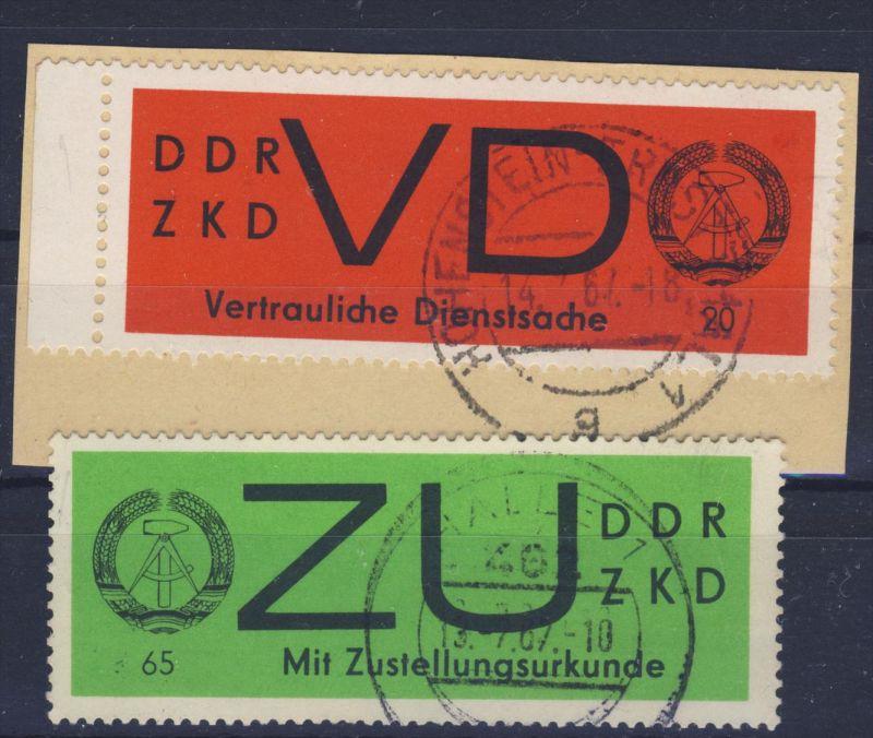 DDR Dienst Gruppe D Michel No. 2 y , 3 y gestempelt