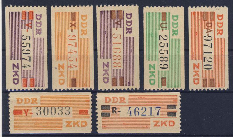 DDR Dienst Gruppe B Michel No. IV - X ** postfrisch / VII, IX, X senktechte Spur im Gummi