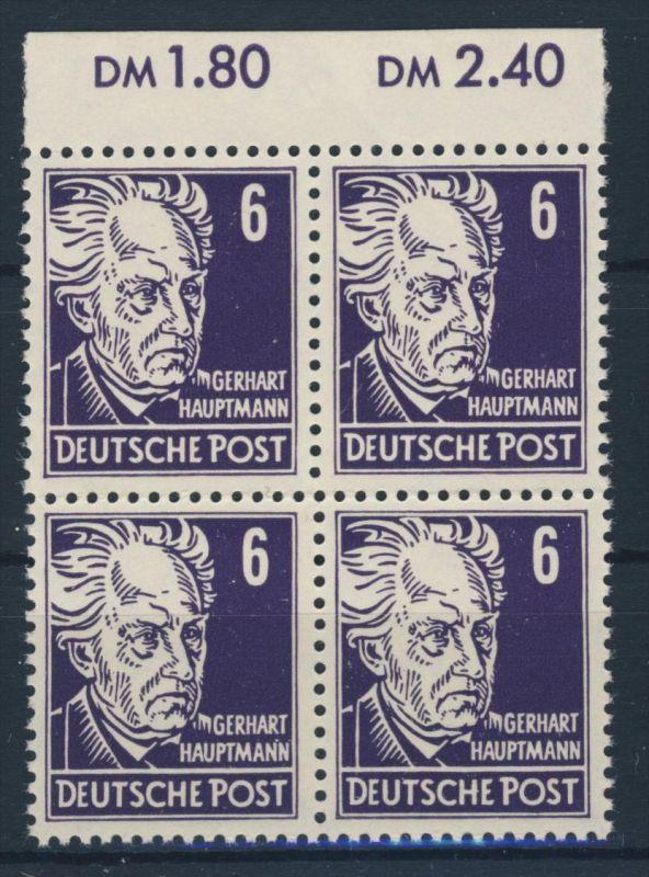 DDR Michel No. 328 va X I ** postfrisch Viererblock Oberrand