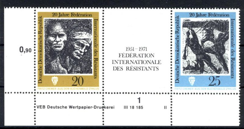 DDR Michel No. 1680 - 1681 ** postfrisch DV Druckvermerk FN II , IV