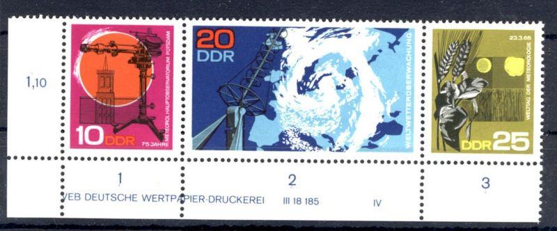 DDR Michel No. 1343 - 1345 W Zd 189 ** postfrisch DV Druckvermerk