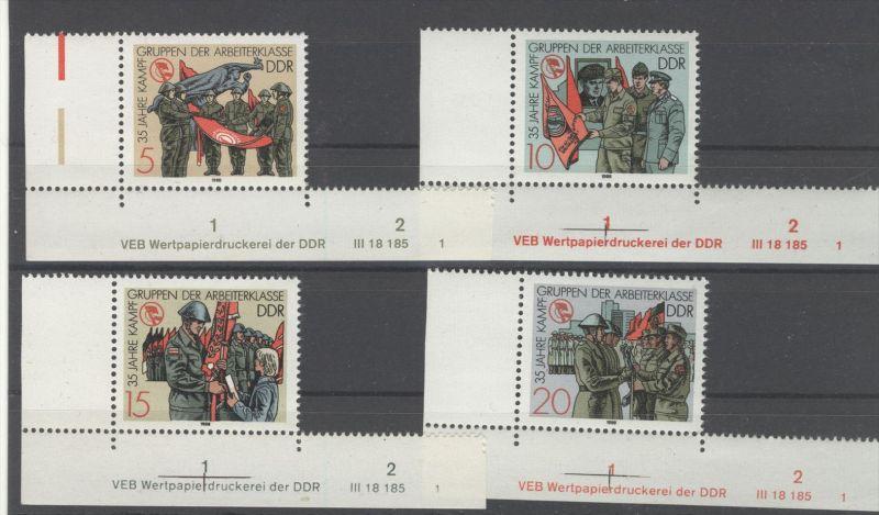 DDR Michel No. 3177 - 3180 ** postfrisch DV Druckvermerk