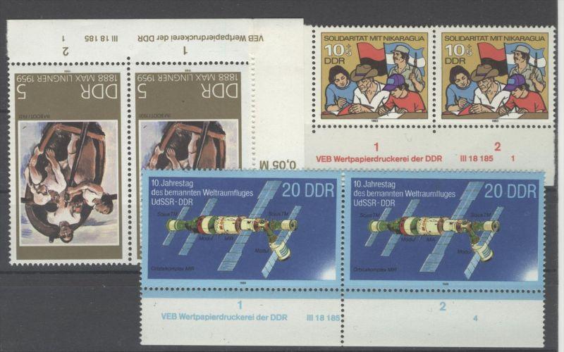 Lot DDR DV Druckvermerk Michel No. 2834 , 3172 , 3209 ** postfrisch / alle gefaltet