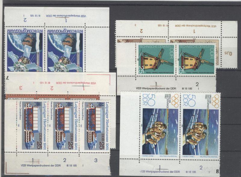 Lot DDR DV Druckvermerk Michel No. 2311 , 2315 , 2505 , 2618 , 2635 , 2659 ** postfrisch / alle gefaltet