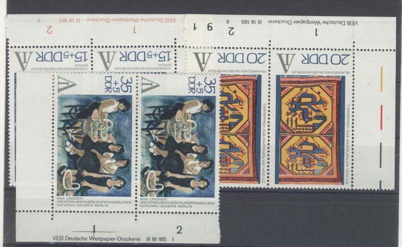 Lot DDR DV Druckvermerk Michel No. 1786 , 1787 , 1788 ** postfrisch / alle gefaltet