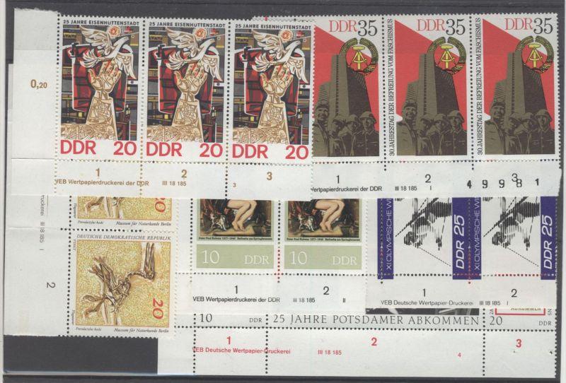 Lot DDR DV Druckvermerk Michel No. 1598 - 1600 , 1686 , 1824 , 2041 , 2053 , 2229 ** postfrisch / alle gefaltet