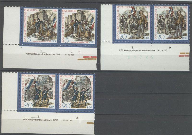 Lot DDR Michel No. 3258 - 3260 ** postfrisch DV Druckvermerk