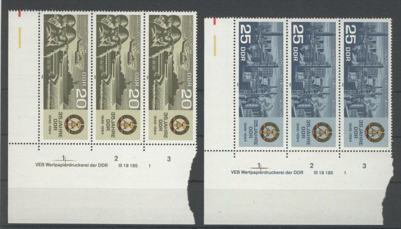 DDR Michel No. 2894 - 2895 ** postfrisch DV Druckvermerk