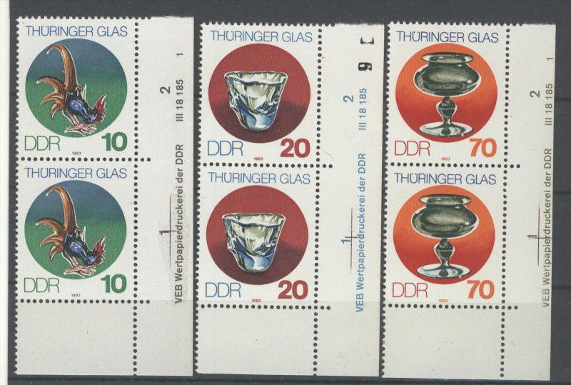 Lot DDR Michel No. 2835 , 2836 , 2838 ** postfrisch DV Druckvermerk