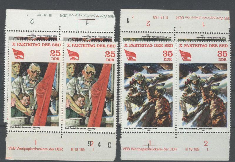 DDR Michel No. 2595 - 2598 ** postfrisch DV Druckvermerk