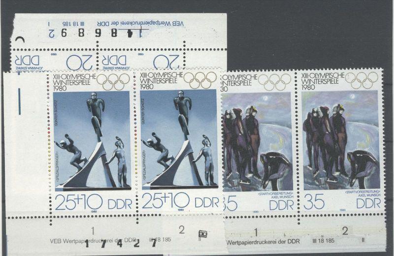 Lot DDR Michel No. 2479 - 2481 / 2503 - 2504 ** postfrisch DV Druckvermerk