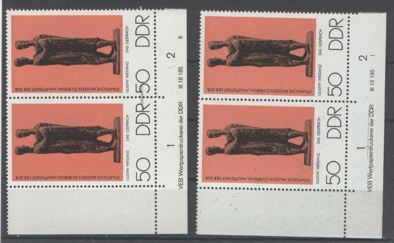DDR Michel No. 2145 ** postfrisch DV Druckvermerk FN I oben angetrennt