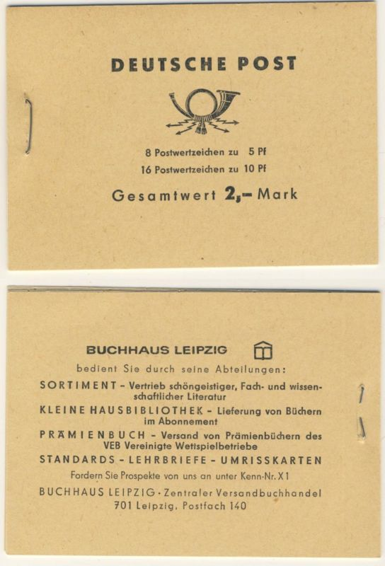 DDR Markenheft MH 4 c 1 a ** postfrisch