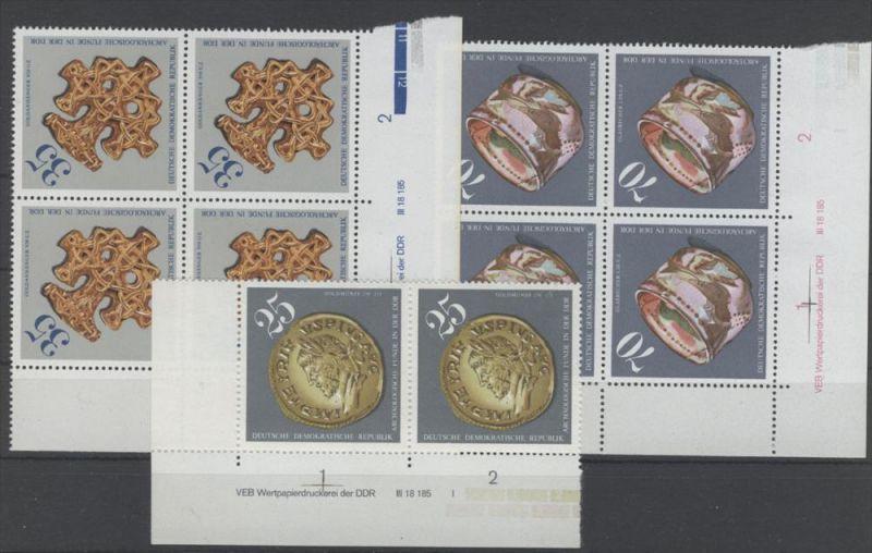 Lot DDR Michel No. 2184 , 2185 , 2186 ** postfrisch DV Druckvermerk