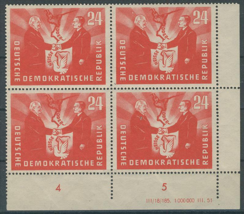 DDR Michel No. 284 ** postfrisch DV Druckvermerk / waagerecht gefaltet