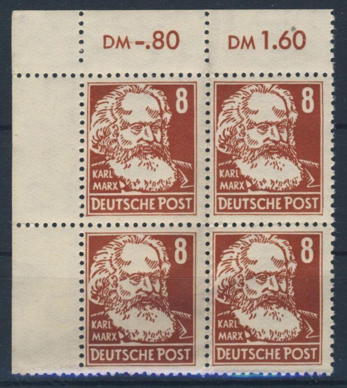 DDR Michel No. 329 z X II ** postfrisch Viererblock Eckrand