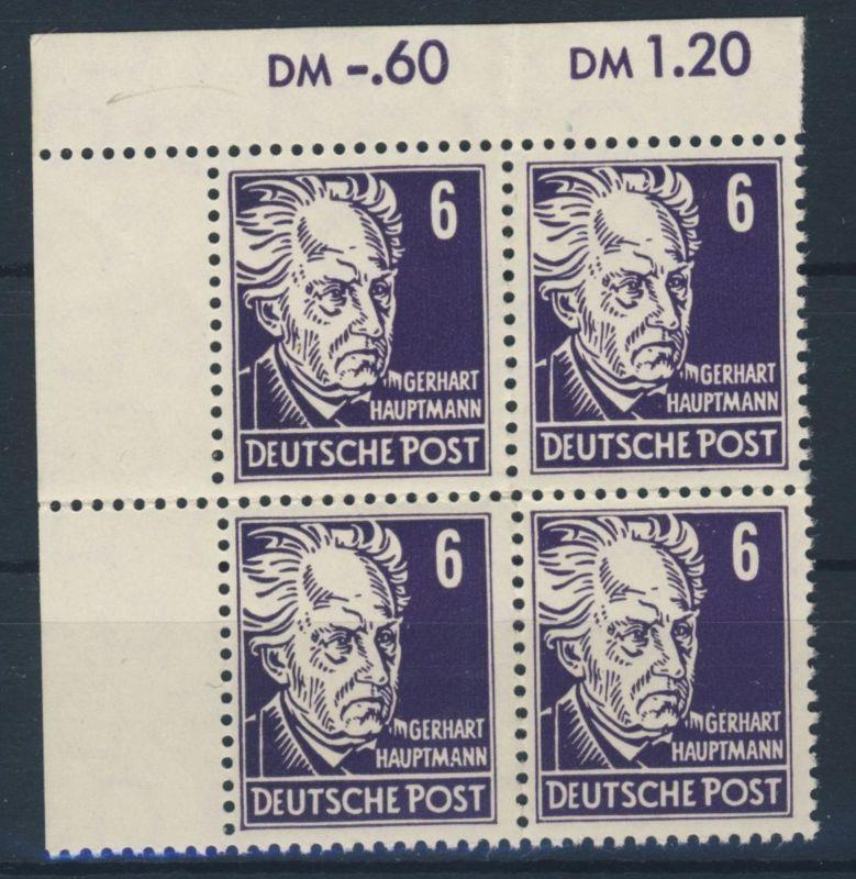 DDR Michel No. 328 va X I ** postfrisch Viererblock Eckrand