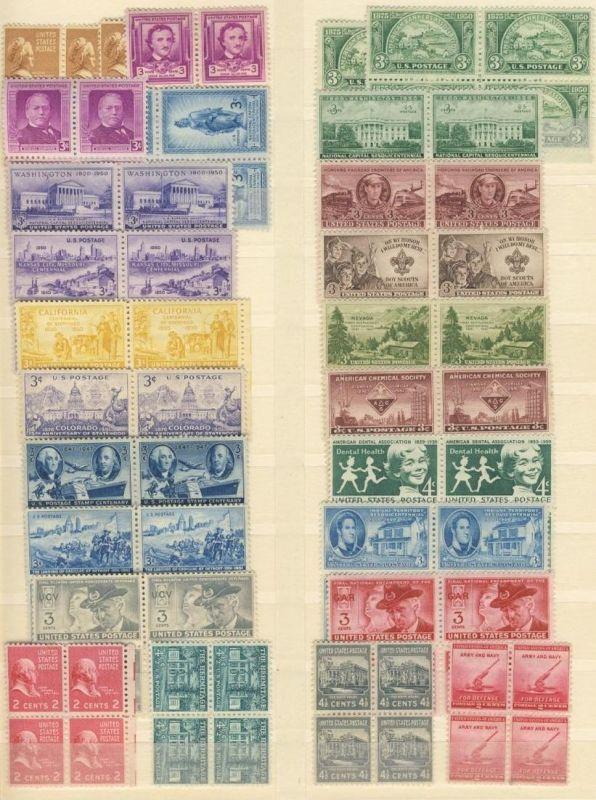 Lot USA zwischen 1938 - 1959 Michel No. 412 - 761 ** postfrisch Viererblock