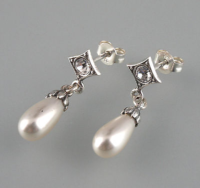 925er Silver Pearls Earrings With Swarowski Stones 9901131