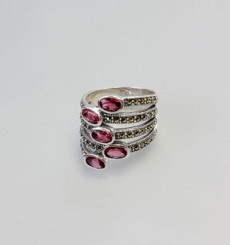 925er Silber roter Zirkonia Stein Ring Markasiten 9907143