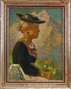 Öl-Gemälde Hübsches Mädchen im Dirndl Alpen Bayern Porträt  7760045 0