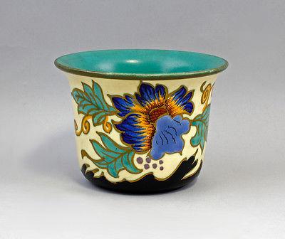 9977371 Blumen-Schale mit Floraldekor Vase Blumentopf Pflanzschale Keramik