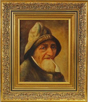 Ölgemälde sign. van Dijck Porträt eines Fischers Holländer Stuckrahmen 25460021 0