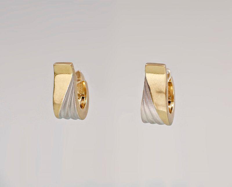 585er Gold Bicolor Creolen Ohrringe 99825345