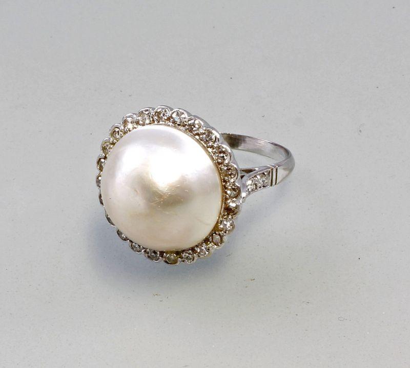 Perlen Diamant Ring 750er Weiß Gold 99825057