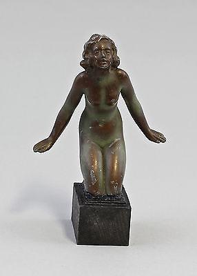 Kleine Skulptur Weiblicher Akt Zinkspritzguss Jugendstil um 1900 99838037