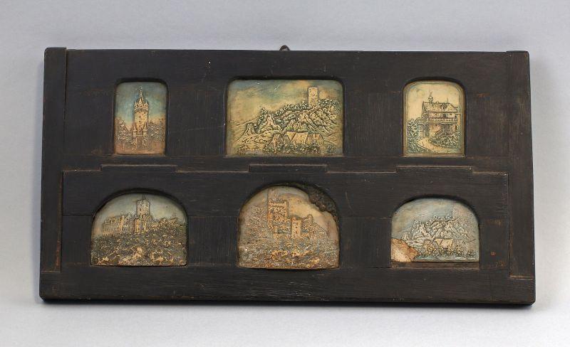 Wandbild mit 6 Relief-Platten Burgen-Motive Steinguss um 1900  99838030