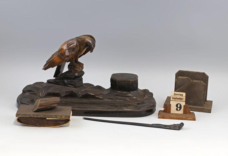 5-teilige Jagdliche Schreibgarnitur Adler Holz geschnitzt um 1930 99838029