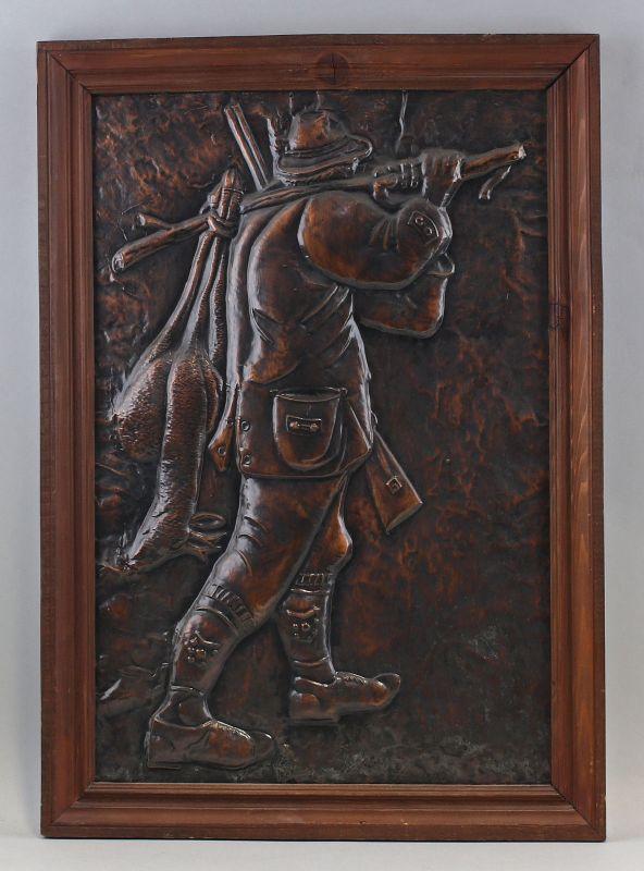 7938017 Jagdliches Reliefbild Kupferblech Jäger mit erlegtem Reh Jagd gerahmt