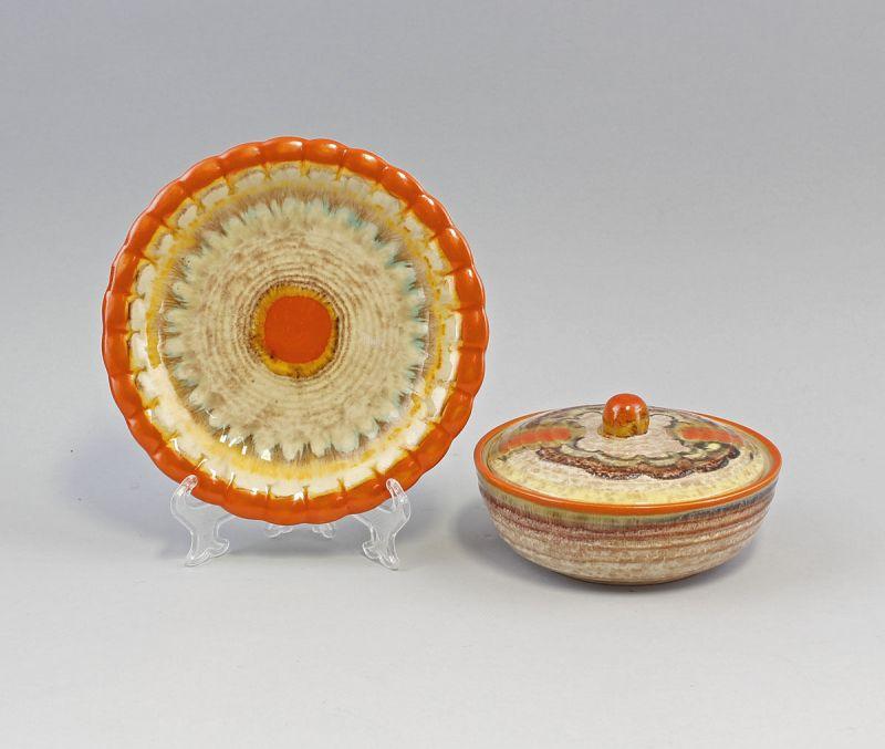 Keramik Teller und Dose Art déco Westerwald Dümmler&Breiden 99845255