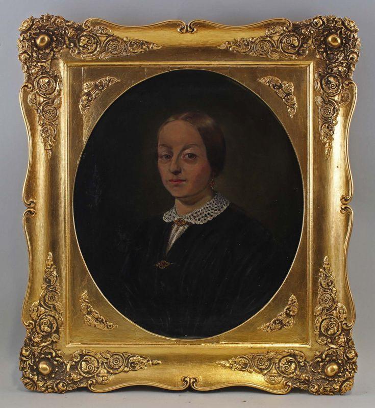 Öl-Gemälde Porträt einer Dame Biedermeier Mitte 19. Jh. Stuckrahmen 99860003