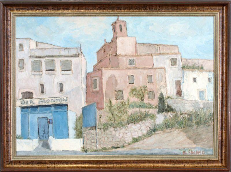Öl-Gemälde signiert El Pagano kleines Städtchen in Spanien modern 99860023