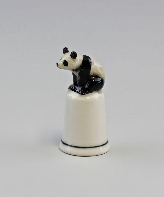 Porzellan Fingerhut mit Figur Panda Bär H4,9cm 9982244