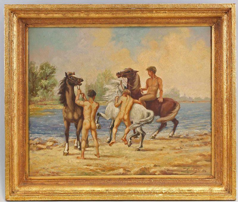 Öl-Gemälde Kopie n. Josef Pieper Reiter am Meer 1946  99860175