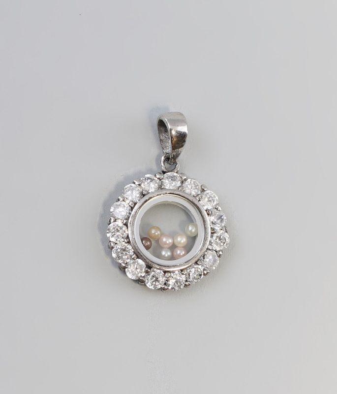 Silberner Anhänger mit Zirkonia-Besatz und Perlen 925er Silber 9927165