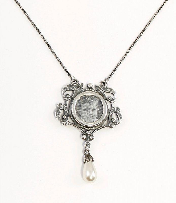 Jugendstil-Collier mit Perle Medaillon Bild-Anhänger 9901681