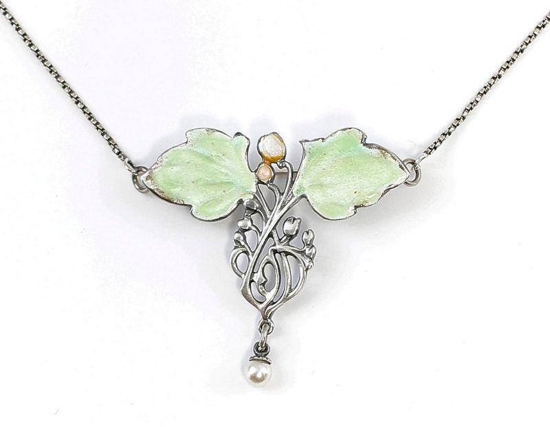 Emailliertes Jugendstil-Collier/Brosche mit Perle floral 9901633