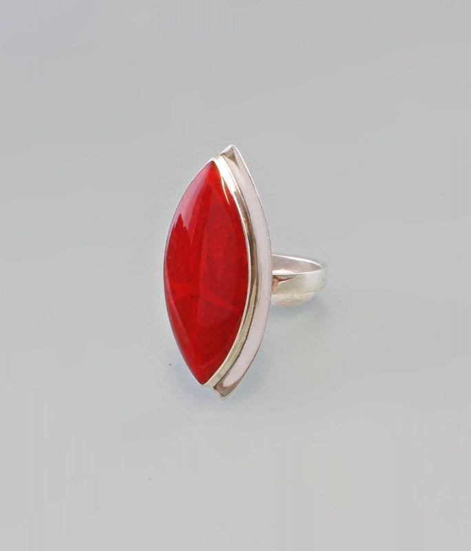 925er Silber Ring Schaumkoralle verstellbare Größe 9907269