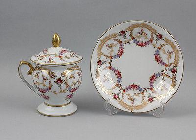 Porzellan - Deckel-Tasse mit Rosen- und  Gold-Dekor 9987107