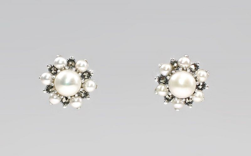 925er Silber Perlen Markasiten Ohrringe Antikstil 9927580