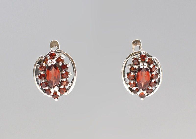 925er Silber Granat Markasiten Ohrringe Antikstil 9927592