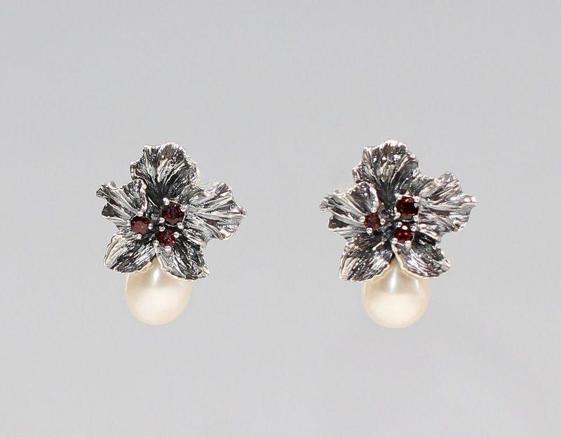 925er Silber Granat Perlen Markasiten Ohrringe floral Antikstil 9927566