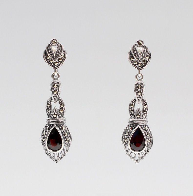 925er Silber Granat Markasiten Ohrringe Antikstil 9927559